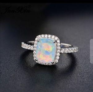 Princess cut fire opal ring